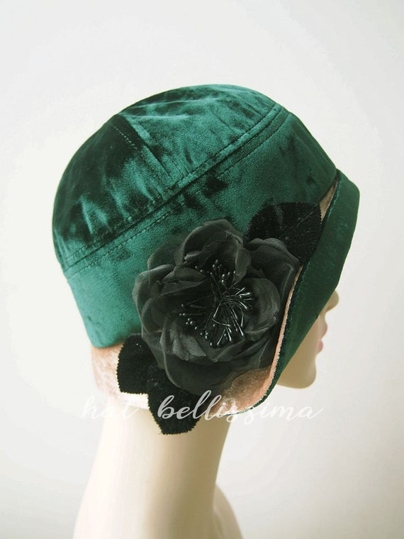 87cbc219328 SALE green 1920 s Cloche Hat Vintage Style hat winter Hats