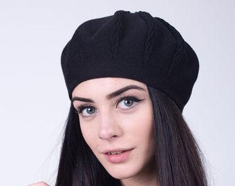 0071fd57 Black beret women, knit beret, cotton spring hat