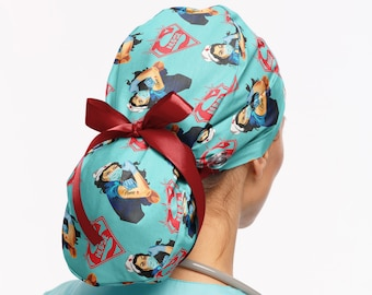 Cardiac ICU Nurse Scrub caps for women ponytail with buttons Dark blue  scrub cap . EKG Surgical Hat With Ties Cardiology scrub cap