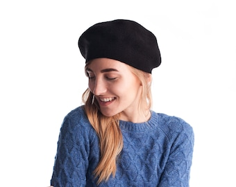 Black knit wool beret c97c371a3ac0