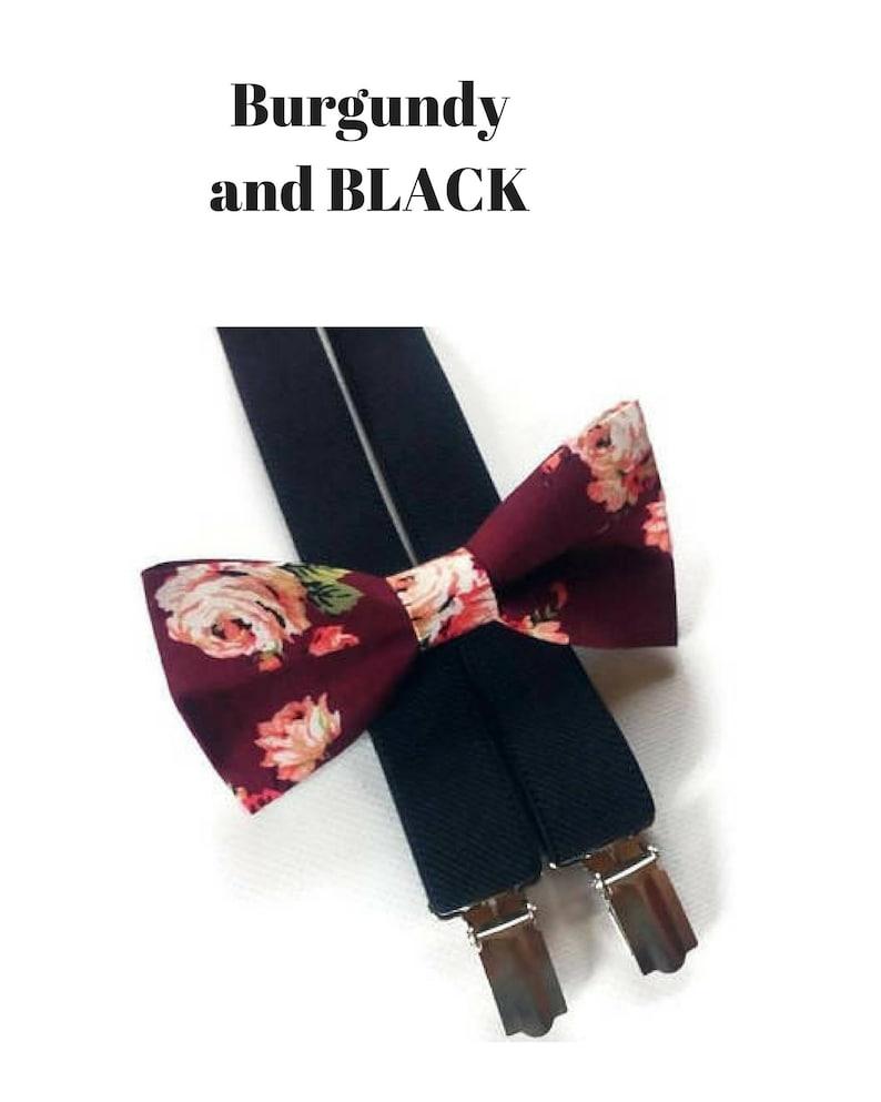 8d3620b4f241 Burgundy roses bow tieblack suspendersring bearer | Etsy