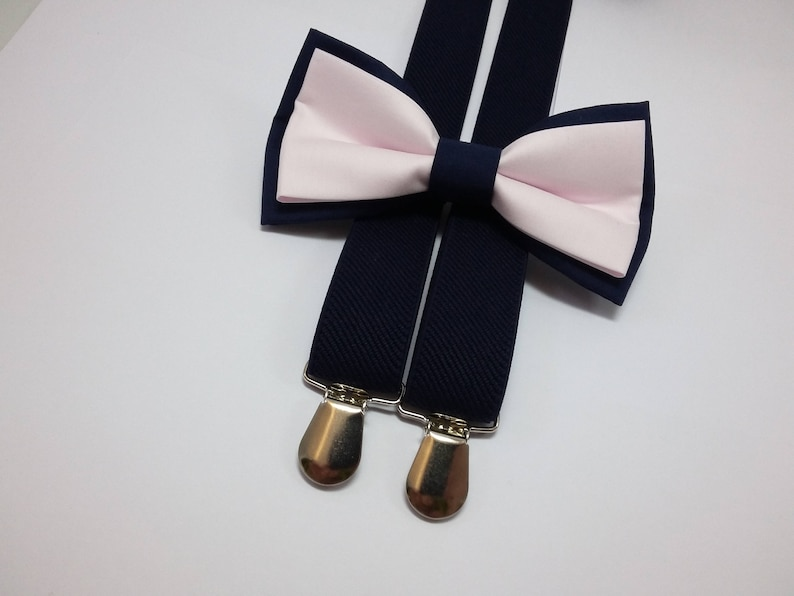 5e97f9b956d4 Navy and blush wedding set for ring bearer double colored bow | Etsy