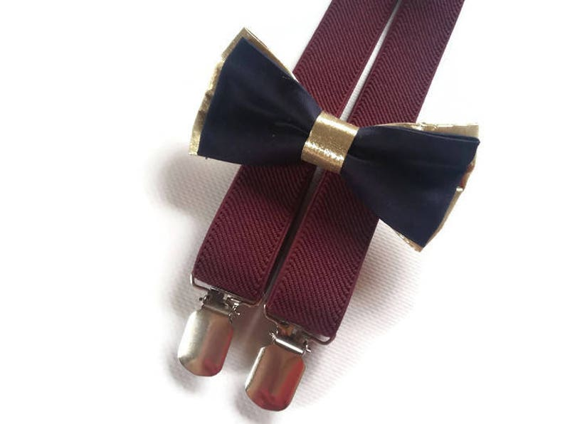 77cc7e07e Gold navy bow tie burgundy suspenders men wedding set for my