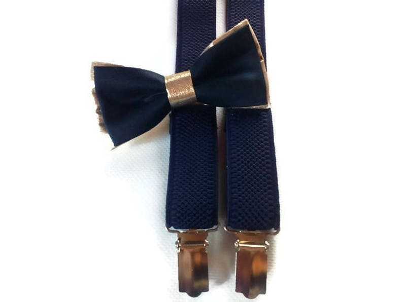 set of bow tie,bowtie and suspenders,ring bearer outfit,gold navy bowtie,navy gold wedding,navy suspenders,toddler outfit,infant set groom