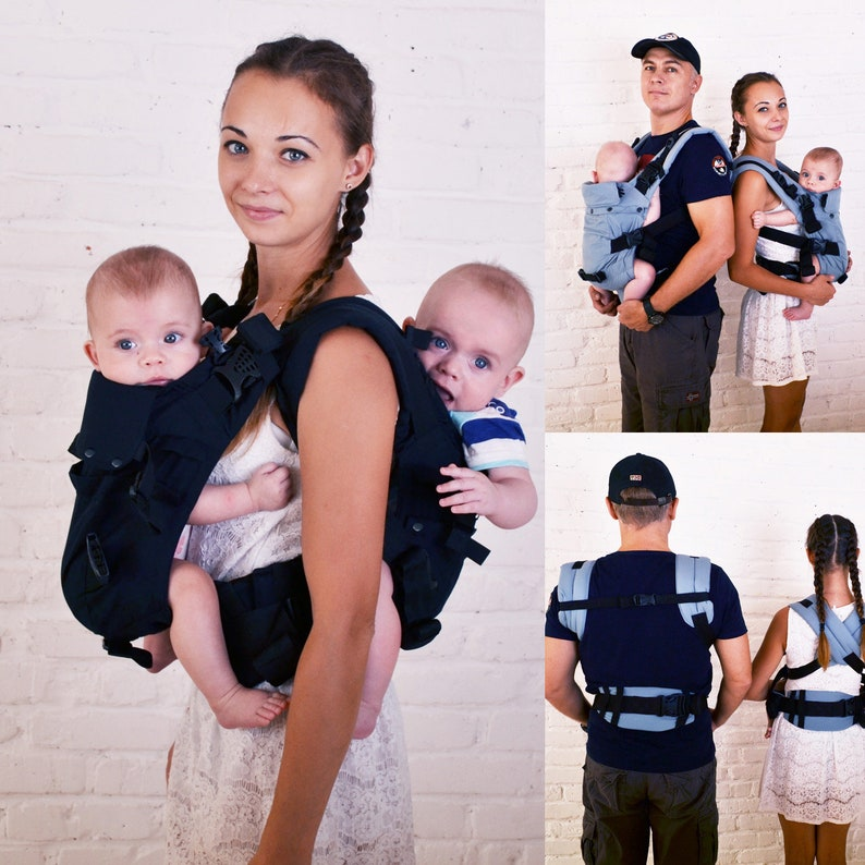 Malishastik Twin Baby Carrier Back Adapt Black Twin Wrap Carrier Twins Sling Twin Carrier Sling Twin Carrier Tandem Carry