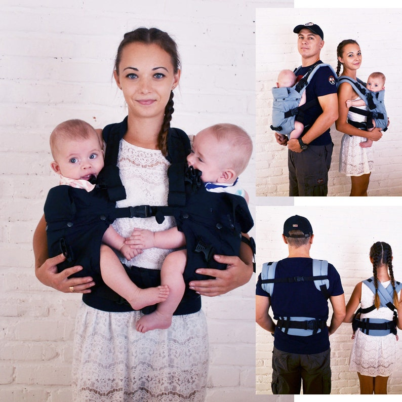 Malishastik Twin Baby Carrier Front Adapt Black Twins Baby Carrier Twinsling Twin Baby Tandembabywearing Tandemcarry