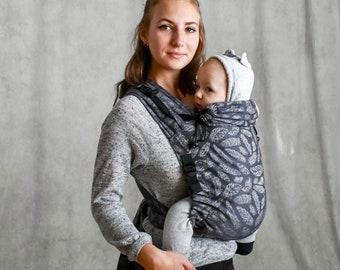 Baby wrap mei tai baby carrier Gray Feathers organic cotton mei tai baby wrap