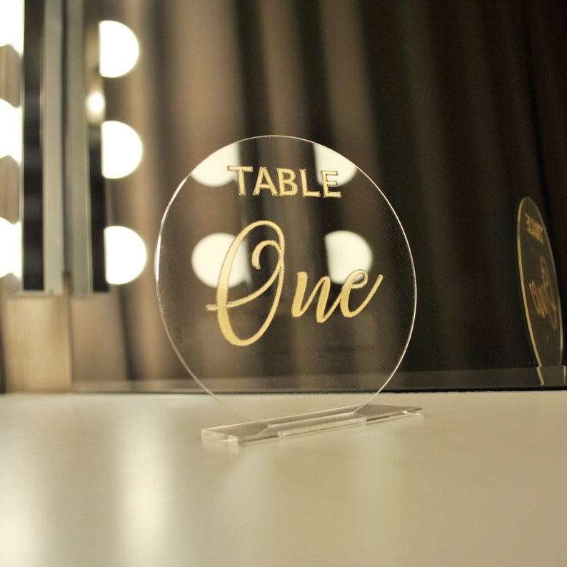 Acrylic Table Numbers SET Gold Color Wedding Table Number ...
