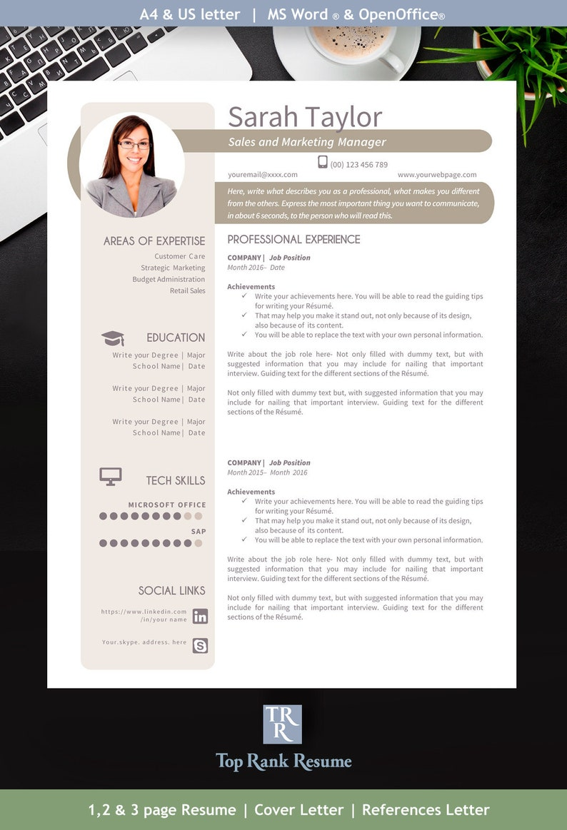 Modern Resume Template, Cover Letter, References Letter | Word & OpenOffice  | Mac and PC | Icons | Tips| Linkedin Banner | Soft MODERN POINT