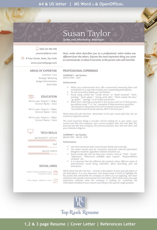 Pro Kit Resume Cover Letter References Letter Template   Etsy