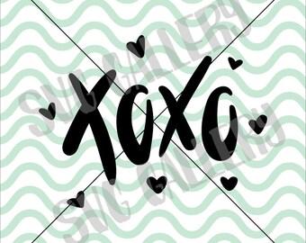 Valentine SVG, Xoxo svg, Kiss SVG, Hugs and kisses svg, hugs svg, love svg, Digital cut file, heart svg, hand lettered, commercial use OK
