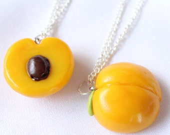 Peach polymer clay necklace Friend friendship necklaces bff necklaces peach miniature  fruit charm Georgia peach polymer clay fruit