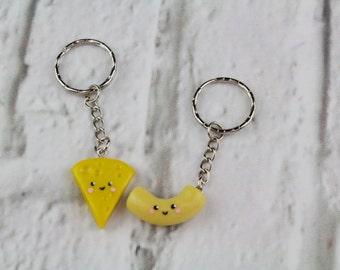 Best friend keychain kawaii charm bff keychain food friendship necklace mac and cheese macaroni and cheese bff necklace cheese necklace