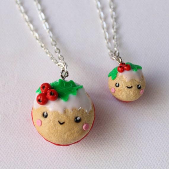 Polymer Clay Christmas Charms.Christmas Gift Bff Necklace Set Food Friendship Polymer Clay Decoration Charm Mini Food Tiny Festive Seasonal Christmas Jewelry Kawaii Food