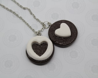 Oreo Cookie  Necklace Cookies necklaces Best Friend Necklaces Miniature Food Jewelry  Polymer Clay Food Friendship Necklaces
