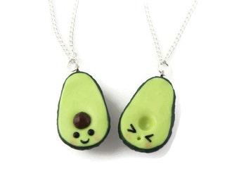 Avocado BFF Necklace kawaii  jewelry miniature food jewelry best friend charms friendship necklace polymer clay jewelry