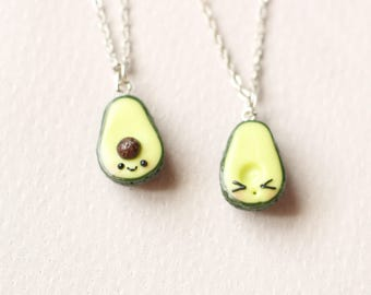 BFF Green avocado friendship necklace pendant bff necklace best friend charm avocado accessories  food miniature bff gift present