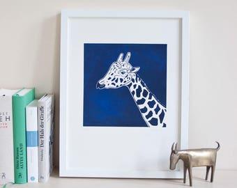 Imprime girafe impression linogravure, original, édition limitée, illustration animale, linogravure, art, fait main, impression, noir bleu