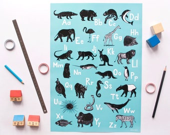 ABC-Poster animals, english illustrated alphabet poster