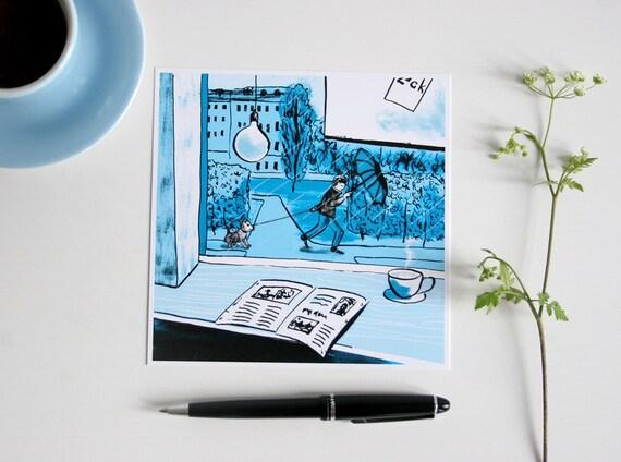 illustrated card greetingcard blue Postcard Caf\u00e9 scene rainy day