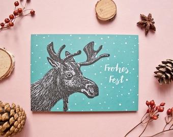 Christmas card elk, animal illustration x-mas