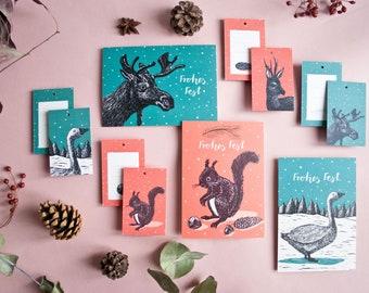 Christmas set, 3 greetingcards and 8 gift tags