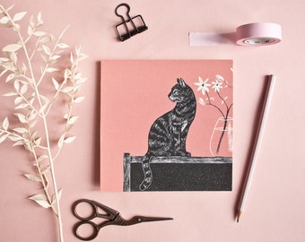 Postcard cat with dusky pink background