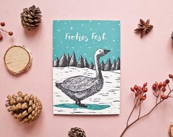 Christmas card goose, animal illustration x-mas