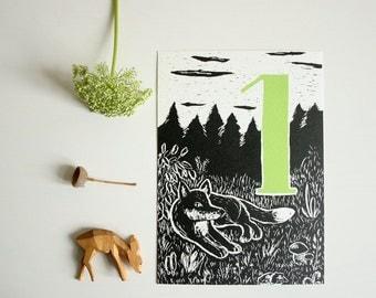 Happy Birthday postcard fox, children, forest animal illustration, scratchboard, first birthday, greeting card, black, number