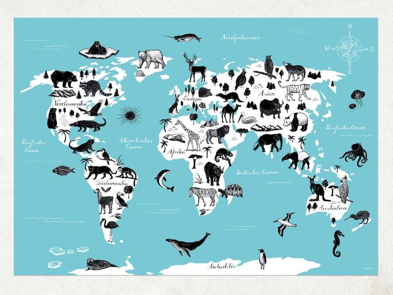World map animals for kids german image 0