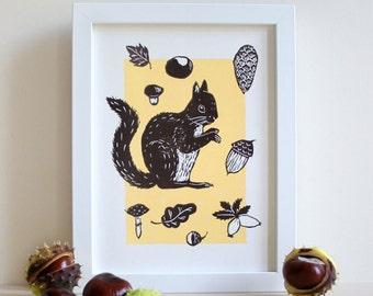 Écureuil, linogravure originale, impression graphique, linogravure bicolore, art, illustration animaux forêt, fait main, décoration