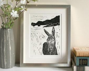 Linogravure originale sur papier, édition limitée, âne, animales prints, illustration animale, noir blanc, fait main, l'art.