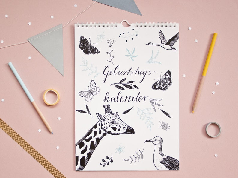 Birthday calendar with animal illustrations image 0