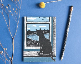 Postcard cat at the window, A6