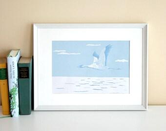 Grue, linogravure originale, réduction impression, tirages, édition limitée, sémaphoriques, mer, art de l'oiseau, bleu, à la main,