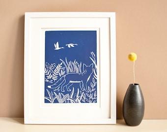 Linocut print fox and swans, original printmaking