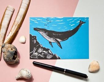 Postcard Whale, animal illustration