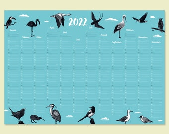 Calendar 2022 Underwater world with animal illustrations A1