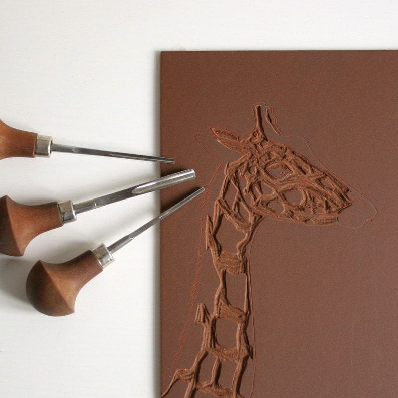 original linocut Print Giraffe