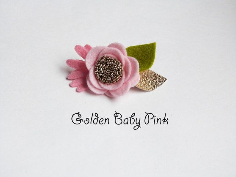 Baby Pink Baby flower headband, Single felt flower nylon headband or  alligator clip, infant headband, Flower headband,