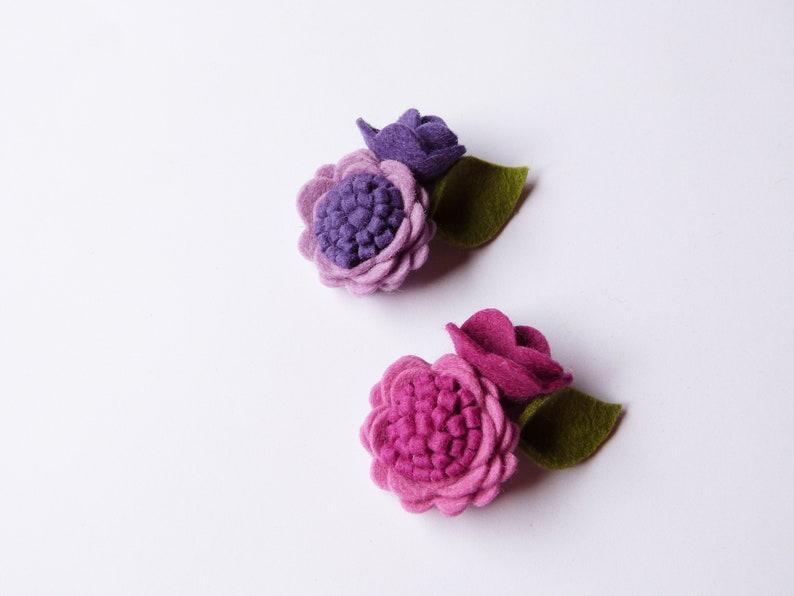 flower headband Lavender Baby headband Purple single felt flower headband Newborn headband or alligator clip