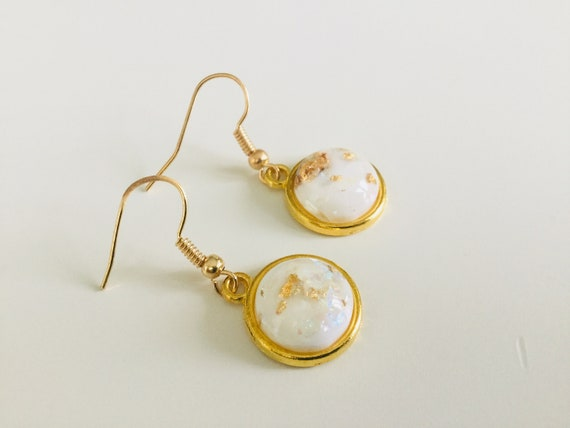 ring pastel cute jewellery earrings ring Beautiful white  /& gold leaf opal earrings and ring set jewelry set gold leaf