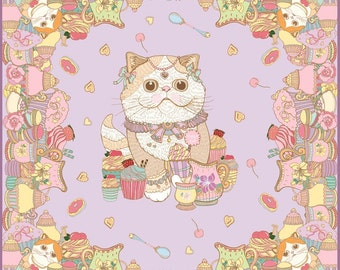 Vivian Style Brand - Afternoon tea with exotic cat SCARF [Made to Order]