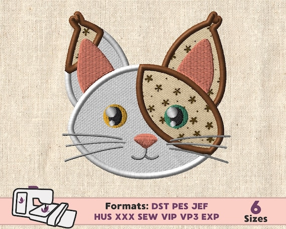 Cat Applique Design Cat Embroidery Machine Applique Pattern Etsy