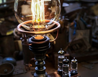 Handcrafted Steampunk/Industrial table lamp with Electrical Valve detail