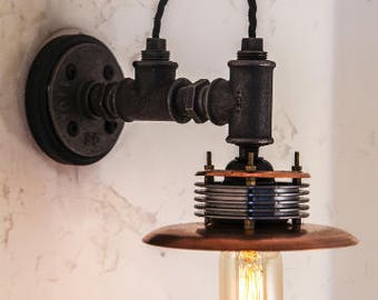 industrial steampunk inspired wall light