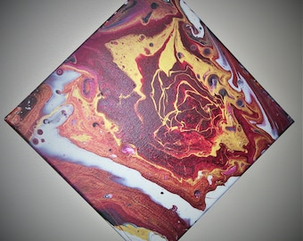 """Acrylic pour painting 12""""x12"""" """"Find the rose"""""""