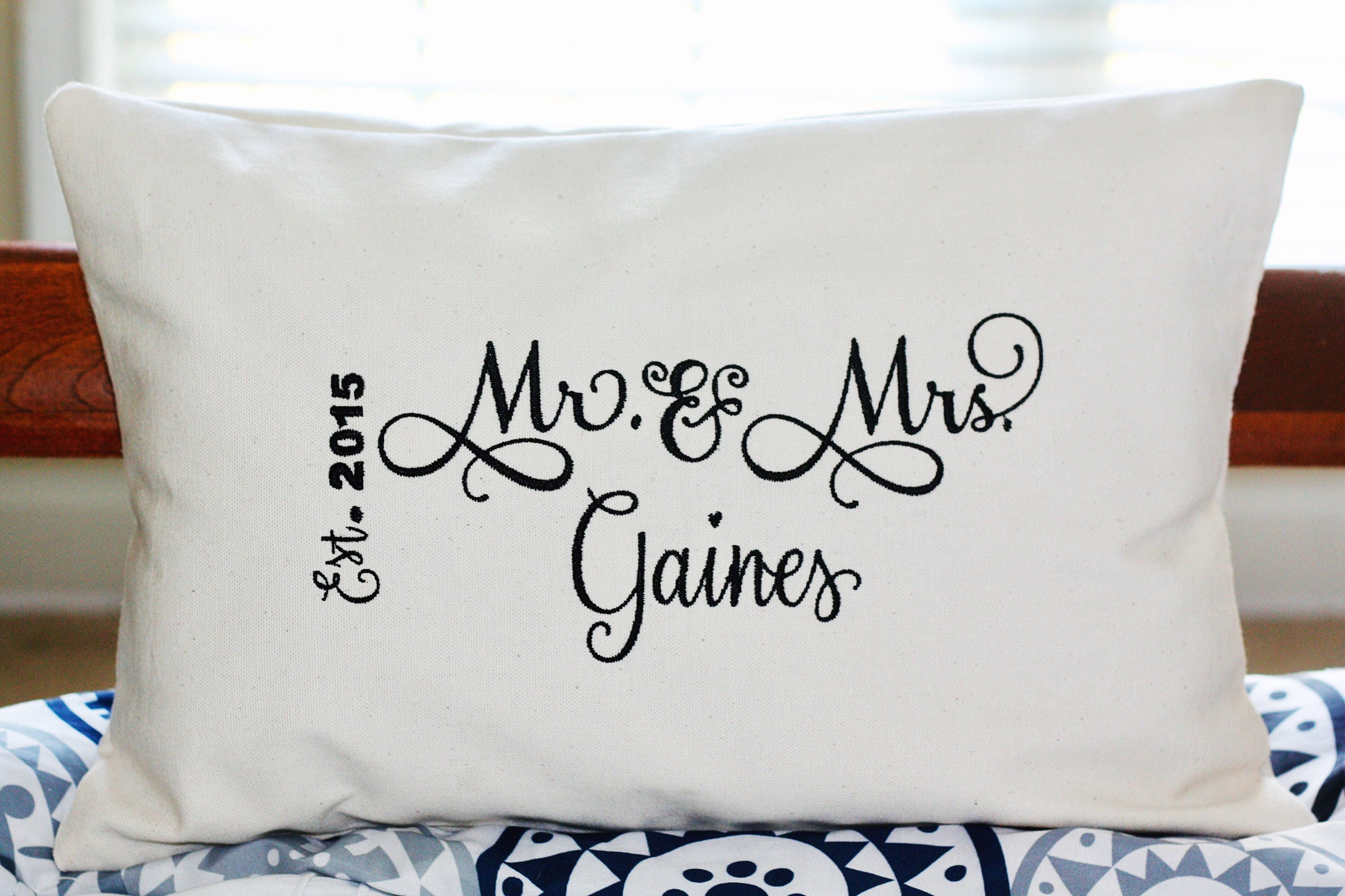 Mr Mrs Throw Pillow Mr And Mrs Pillow Embroidered Etsy