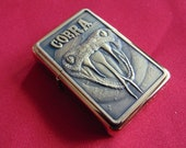 Gold cobra 3D fuel lighter with gift box - plus personalised FREE ENGRAVING