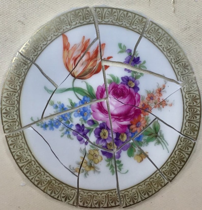 Golden Filigree And Focal China Plate Mosaic Tiles 160 Pcs And Etsy